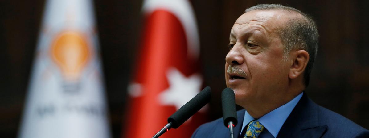 Le président turc, Recep Tayyip Erdogan, lors d\'une allocution aux parlementaires de son parti, le 23 octobre 2018.