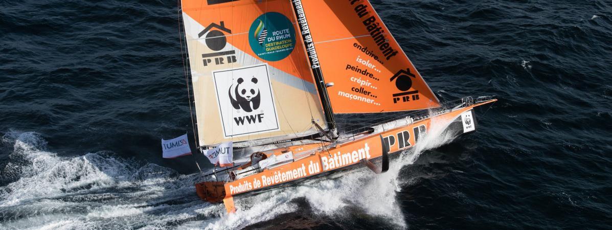 Le voilier monocoque de Vincent Riou avec lequel il prendra le départ de la Route du Rhum, le dimanche 4 novembre 2018.