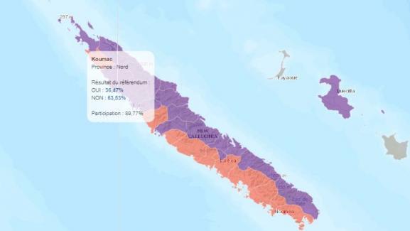 Capture écran de la carte surle référendum en Nouvelle-Calédonie.