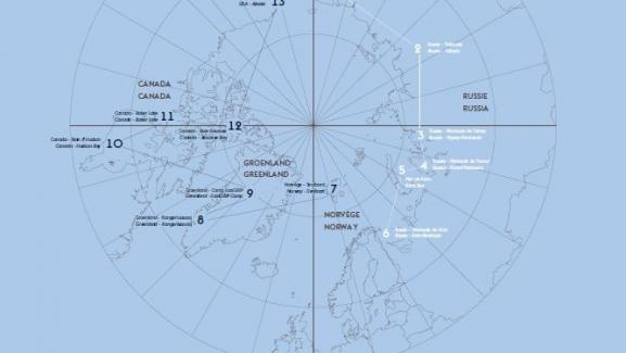 Carte de la double-expédition dans l\'Arctique - Yuri Kozyrev/Kadir van Lohuizen