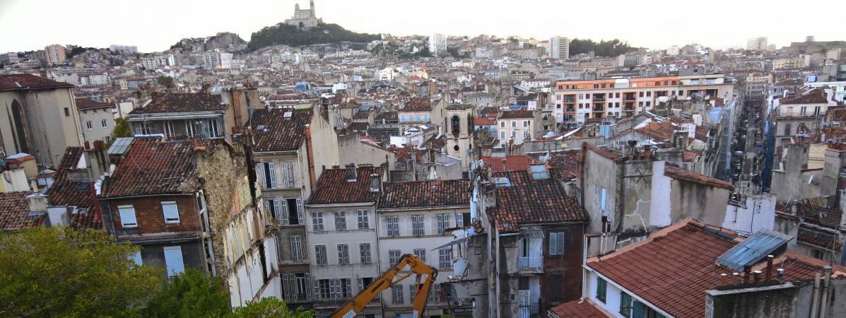 Une vue du quartier où des immeubles se sont effondrés à Marseille le 5 novembre 2018.
