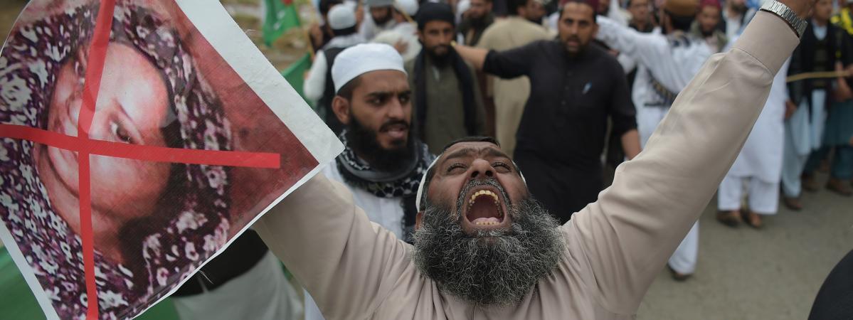 Une manifestation après l\'annonce de l\'acquittement d\'Asia Bibi à Islamabad, au Pakistan, le 2 novembre 2018.