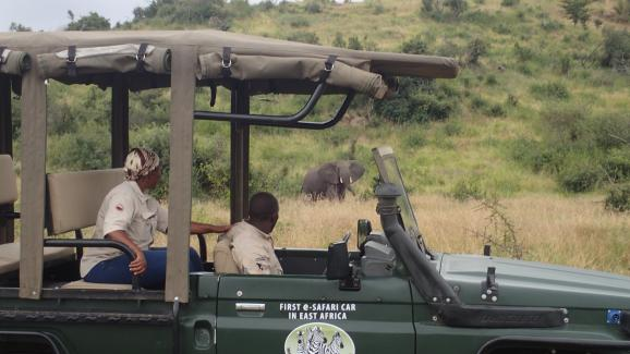 Denis Lebouteux est le premier à expérimenter les voitures de safari électrique,rechargées grâce à l'énergie solaire, en Afrique de l'Est.