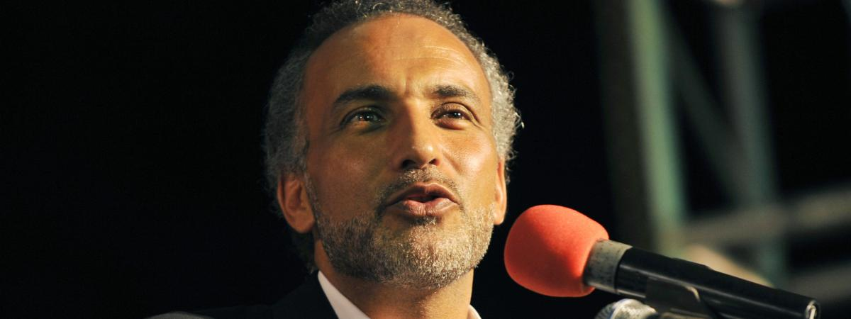 L\'islamologue suisse Tariq Ramadan, ici à Abidjan (Côte d\'Ivoire) en 2001, est incarcéré depuis le mois de février pour des soupçons de viols sur deux femmes.