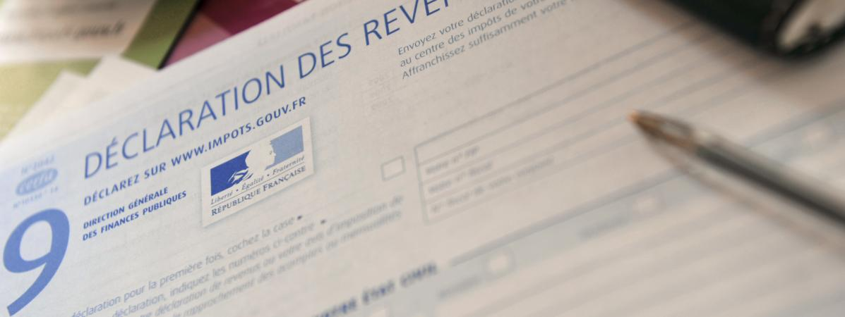 Une déclation d\'impôt sur le revenu (illustration).