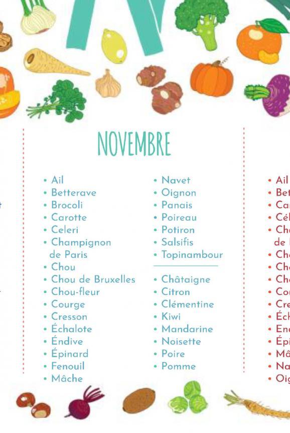 L\'application renvoie vers un document réalisé par l\'ADEME, que l\'on peut imprimer, sur le calendrier des fruits et légumes de saison.