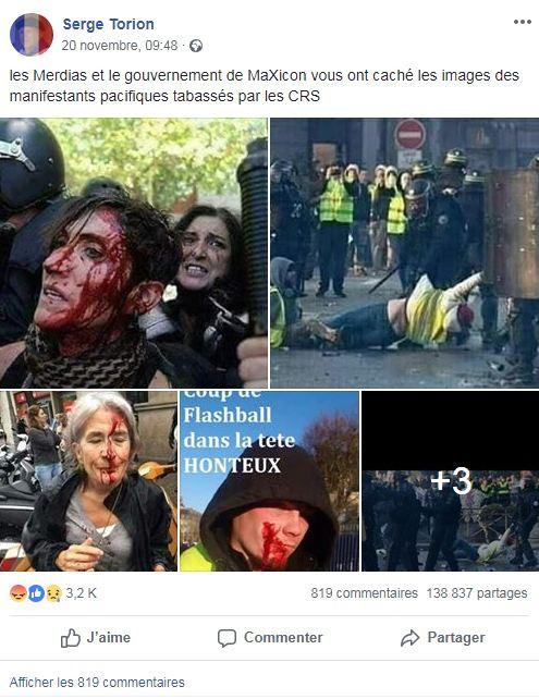 Une publication Facebook faisant passer de vieilles photos pour des photos  datant des manifestations liées aux 42a3ff953fc