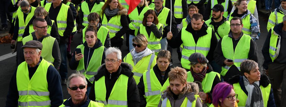 """Des \""""gilets jaunes\"""" manifestant contre l\'augmentation des taxes sur les carburants, le 24 novembre 2018 à Rochefort (Charente-Maritime)."""