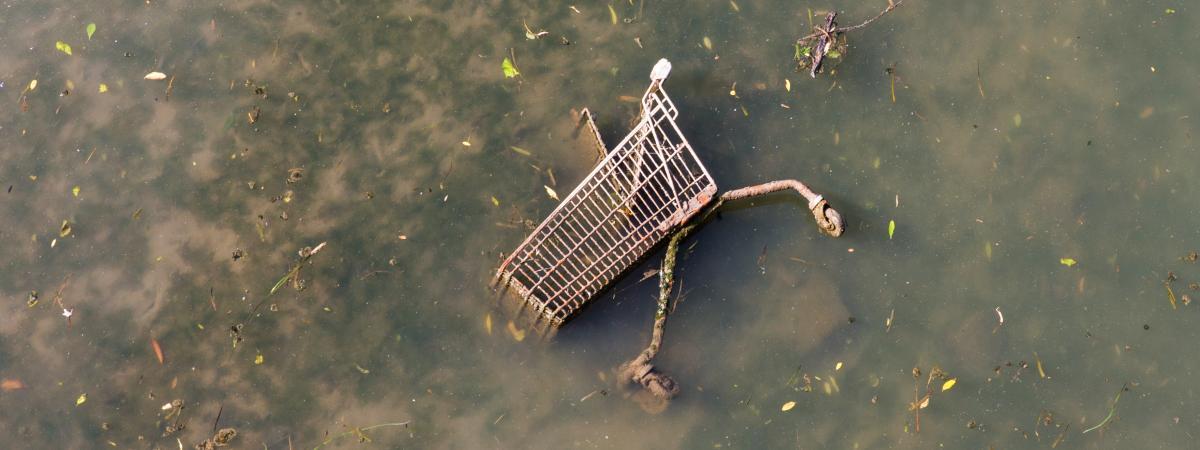 Un chariot de supermarché, dans une rivière sale. Les collapsologues envisagent l\'effondrement, à court terme, de la civilisation industrielle.