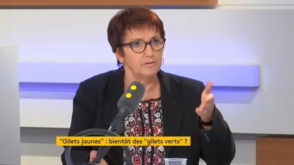 Christiane Lambert, la présidente de la FNSEA, était l\'invitée de franceinfo lundi 3 décembre 2018.