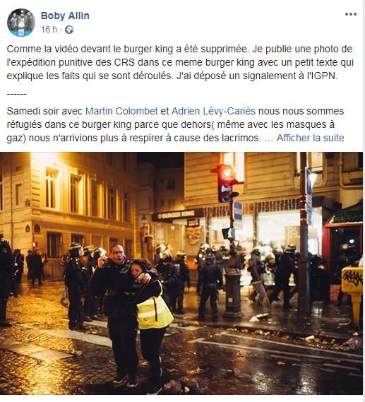Capture d\'écran du message posté le 4 décembre 2018 sur Facebook par le photographe Boris Allin, accompagné d\'une photo prise devant le Burger King de l\'avenue de Wagram, à Paris, le 1er décembre 2018.