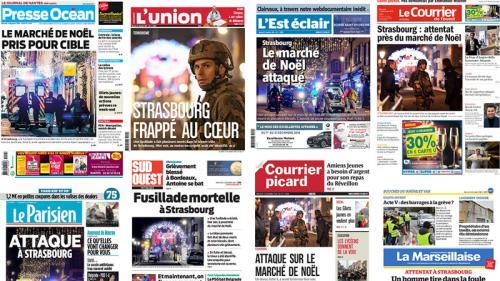 """EN IMAGES. """"L'horreur au marché de Noël"""" : la fusillade de Strasbourg à la une des journaux régionaux"""