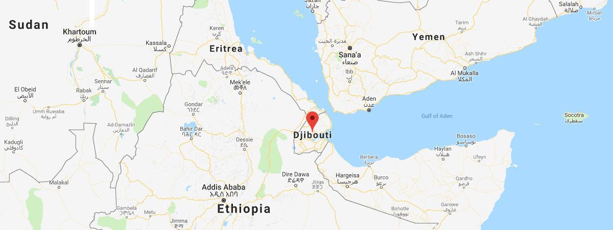 Djibouti se trouve entre l\'Éthiopie, la Somalie et l\'Érythrée.