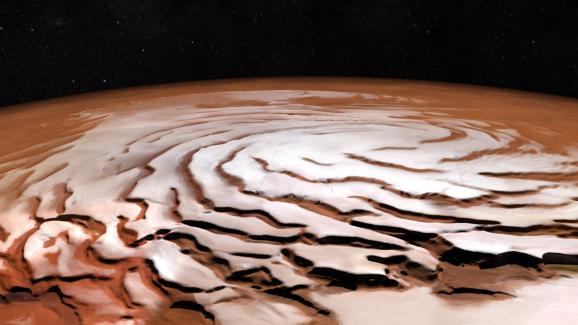 De la neige au pôle Nord de Mars.