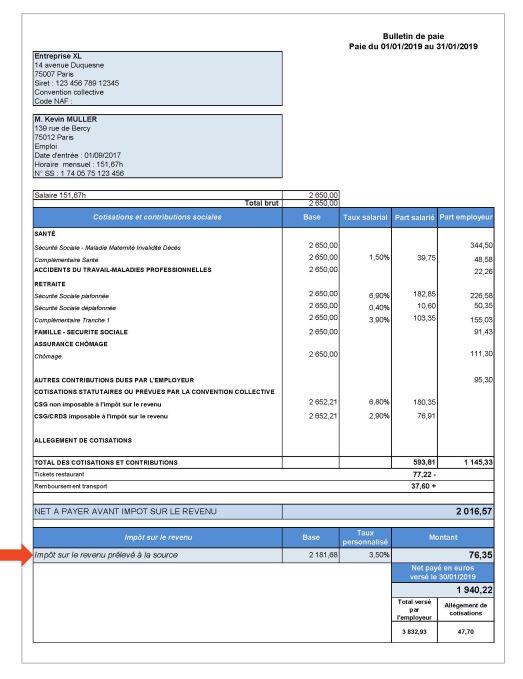 Exemple d\'une fiche de paie de janvier 2019, fournie par les ministères de l\'Economie et des Finances, et de l\'Action et des Comptes publics (Minefi).