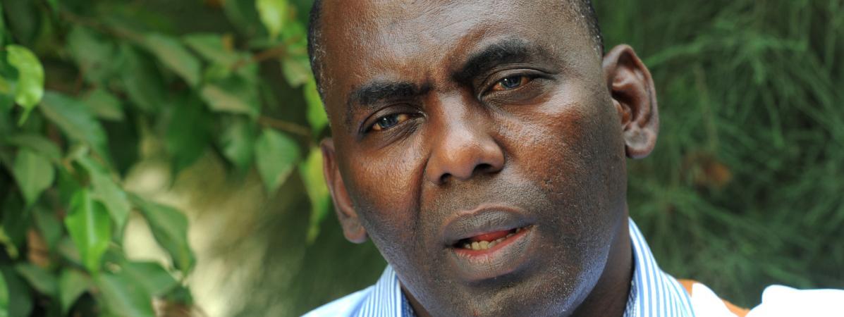 L\'opposant mauritanien, alors qu\'il s\'entretient avec un journaliste de l\'AFP, le 19 juin 2014. Il était alors candidat à la présidentielle.