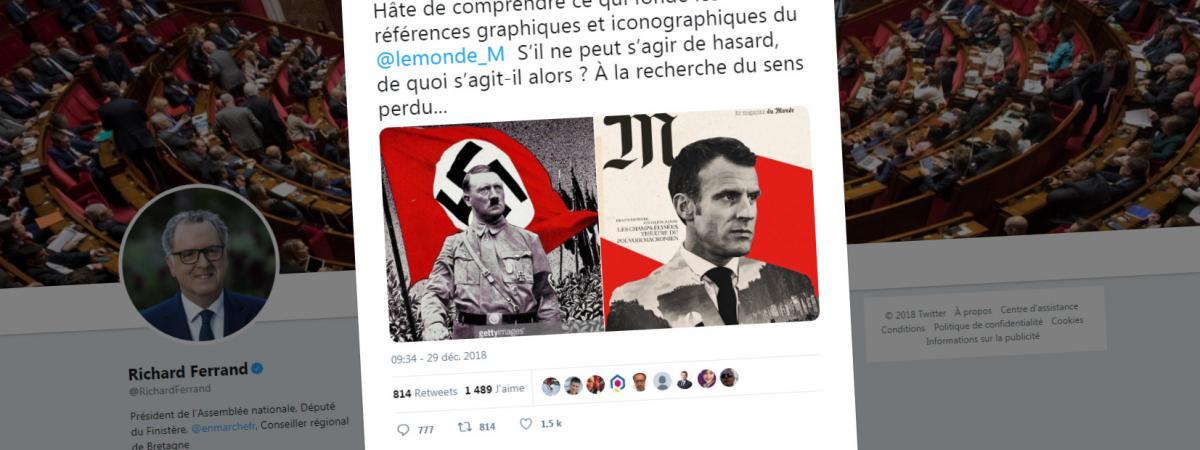 """Capture d\'écran du compte Twitter de Richard Ferrand, président de l\'Assemblée nationale, dénonçant la une du magazine du \""""Monde\"""" paru vendredi 28 décembre 2018."""