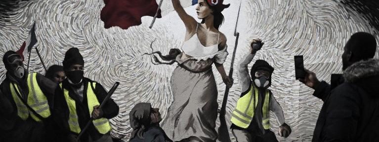 """Fresque \""""Gilets jaunes\"""" inspirée de Delacroix PBOY (pour Pascal Boyart) (janvier 2019)"""