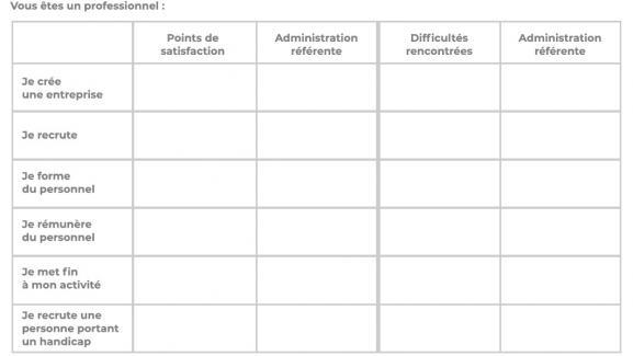 Tableau à remplir dans le cadre du questionnaire présenté aux participants du grand débat national. (capture d\'écran)