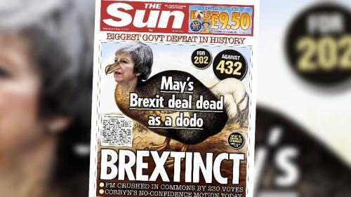"""EN IMAGES. """"God save the UK"""" : les journaux européens s'inquiètent du rejet de l'accord sur le Brexit"""