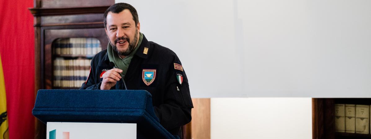 Le ministre de l\'Intérieur italien Matteo Salvini, le 19 janvier 2019 à Naples (Italie).