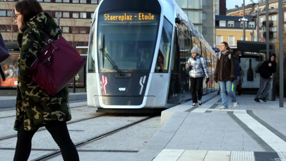 Le tramway au Luxembourg.