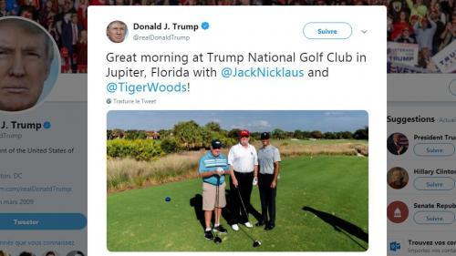 Etats-Unis : en Floride, Donald Trump fait du golf avec Tiger Woods et Jack Nicklaus