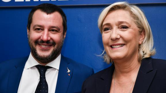 Marine Le Pen et Matteo Salvini (à gauche), à Rome, le 8 octobre 2018.