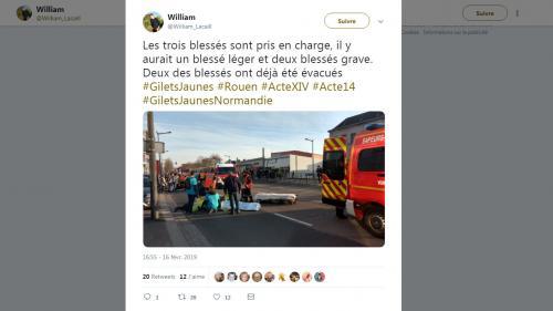 """A Rouen, une voiture force le passage dans le cortège des """"gilets jaunes"""" et blesse au moins trois personnes"""