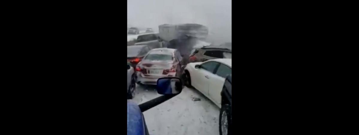 VIDEO. Etats-Unis : un mort et neuf blessés lors d'un carambolage causé par d'importantes chutes de neige