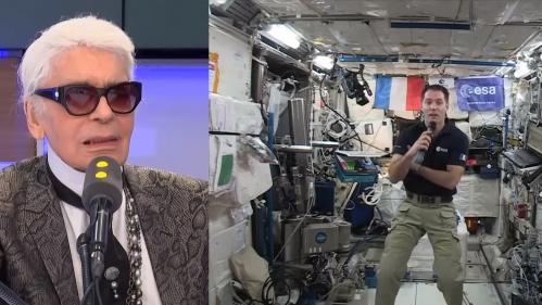 """VIDEO. """"Vous tournez tellement vite autour de la Terre"""" : quand Karl Lagerfeld interviewait Thomas Pesquet en orbite"""