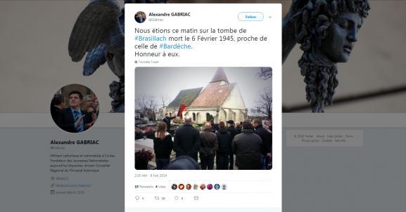 Capture d\'écran d\'un tweet du militant d\'extrême droite Alexandre Gabriac partageant une photo d\'un hommage à Robert Brasillach, au cimetière de Charonne, le 8 février 2014.