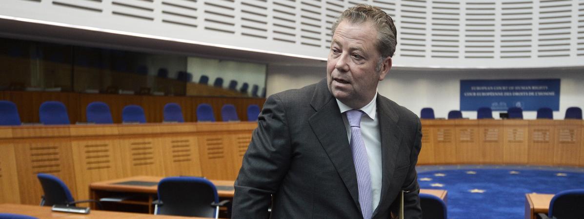 L\'avocatOlivier Morice, à la Cour européenne des droits de l\'homme, le 23 avril 2015 à Strasbourg.