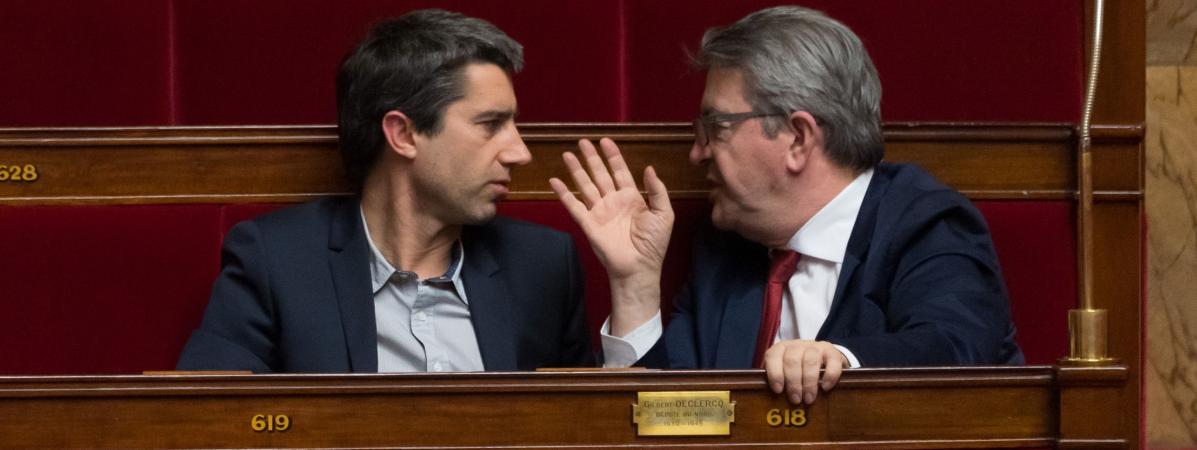 François Ruffin et Jean-Luc Mélenchon discutent à l'Assemblée nationale, à Paris, le 5 février 2019.