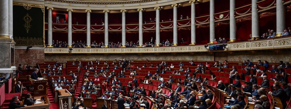 L\'hémicycle de l\'Assemblée nationale à Paris, le 20 février 2019.