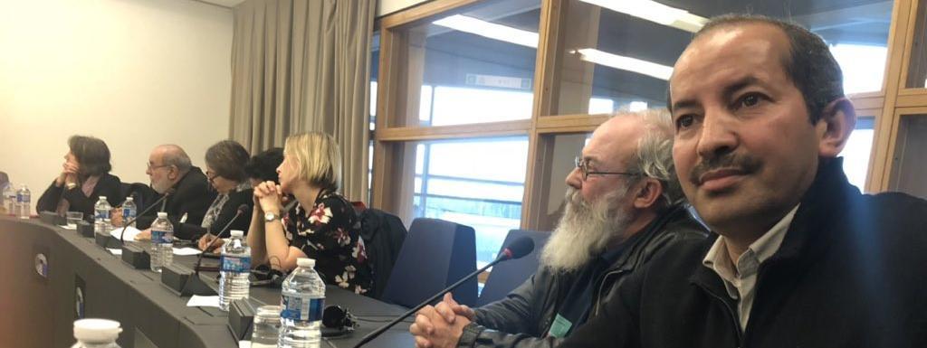 Le président du comité Action et réflexion pour l\'avenir du Sahara occidental, Najem Sidi (D), au Parlement européen à Strasbourg, le 12 février 2019.
