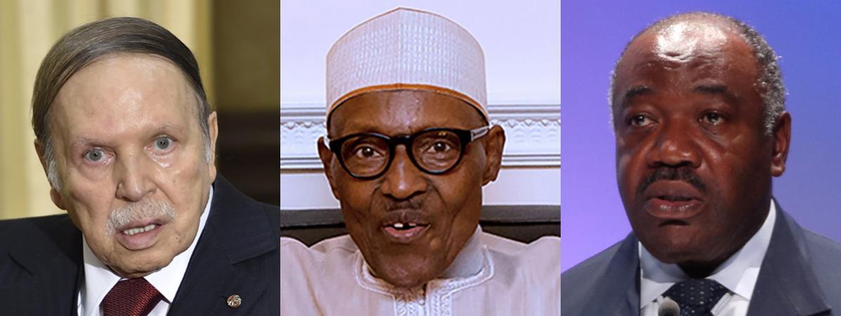 Les présidents Abdelaziz Bouteflika (Algérie) (G) et Muhammadu Buhari (Nigeria) (C), se sont récemment fait soigner à l\'étranger. Quant à Ali Bongo (Gabon) (D), il poursuit sa convalescence au Maroc.