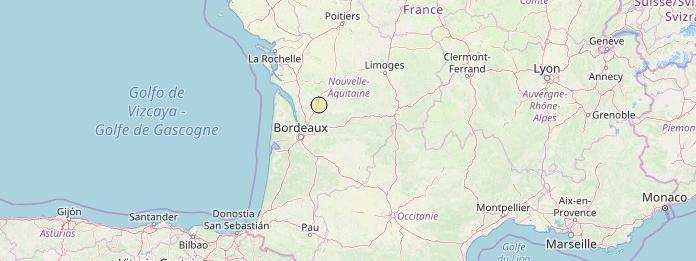 Capture d\'écran de la localisation du séisme du 20 mars en Gironde, sur le site duRéseau National de Surveillance Sismique (RéNaSS).