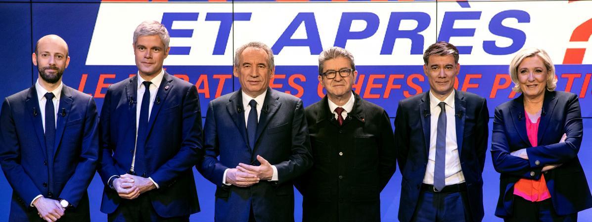 Stanislas Guerini (LREM),Laurent Wauquiez (LR),François Bayrou (Modem), Jean-Luc Mélenchon (LFI), Olivier Faure (PS) et Marine Le Pen (RN), le 20 mars, sur le plateau de BFM TV.
