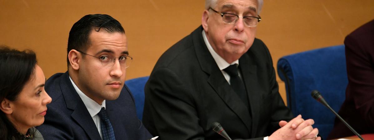 L\'ancien chargé de mission de l\'Elysée, Alexandre Benalla, le 21 janvier 2019 au Sénat.