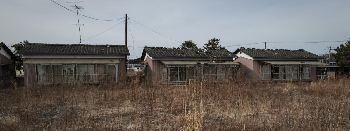 Des maisons près de la centrale de Fukushima, au Japon, le 10 mars 2019.