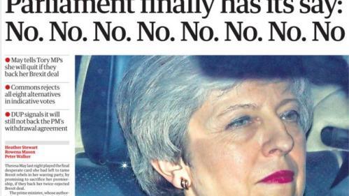 """EN IMAGES. """"No. No. No. No. No. No. No. No."""" : quand la presse britannique ironise sur le chaos du Brexit"""