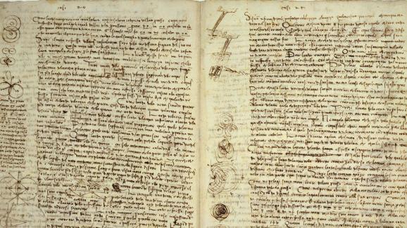 Double paged\'un des carnets de Léonard de Vinci, acquis par Bill Gates en 2016.