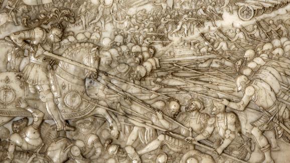 Bas-relief représentant la bataille de Marignan dans la basilique de Saint-Denis (Seine-Saint-Denis), sur le tombeau de François Ier.
