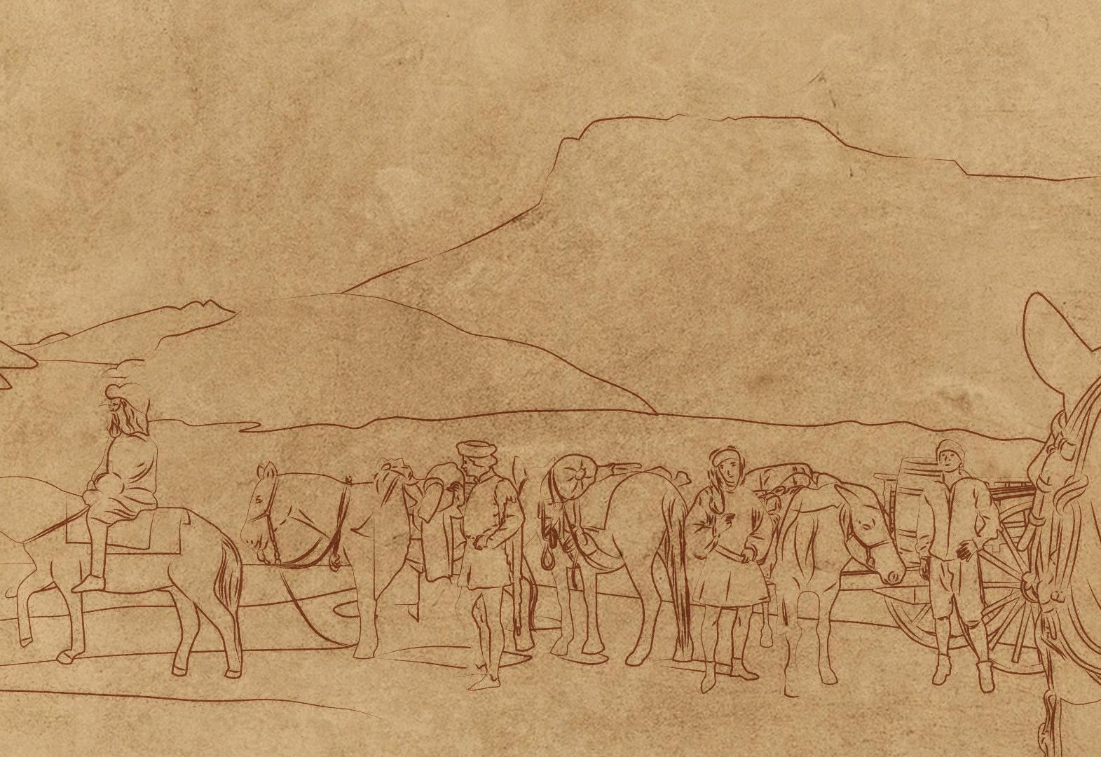 Léonard de Vinci et son escorte lors de leur traversée des Alpes pour se rendre en France, à l\'été 1516.