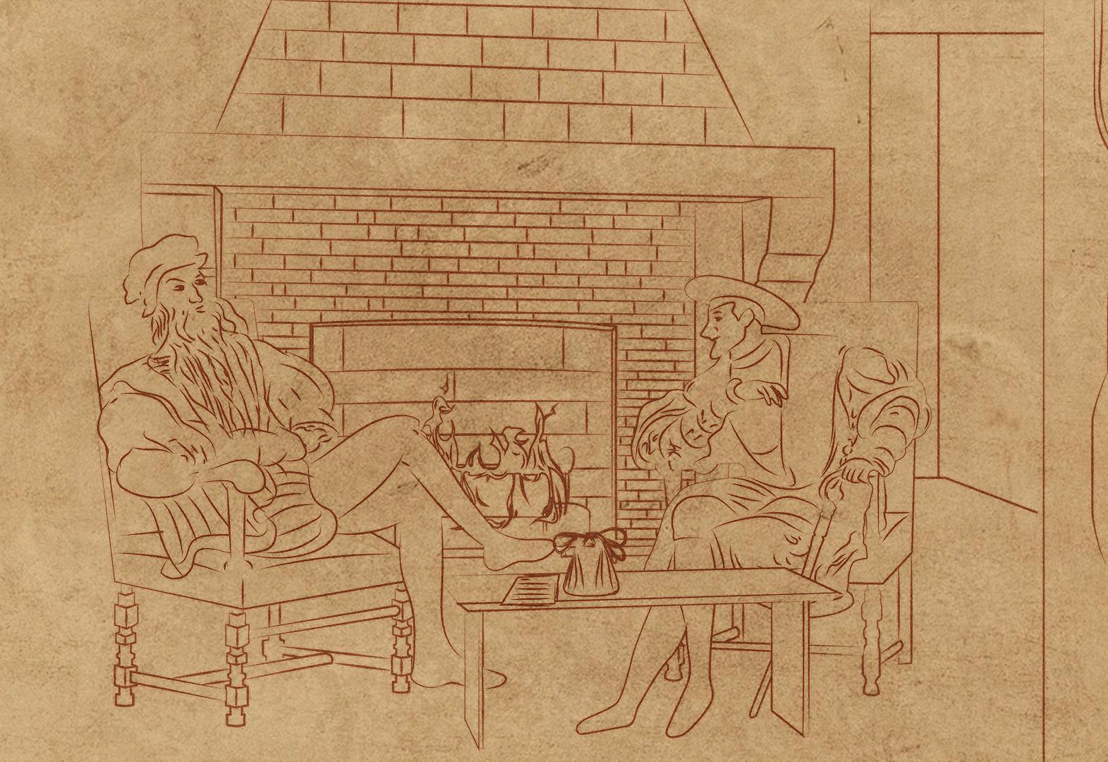 Léonard de Vinci et François Ier devisant au Clos Lucé (Indre-et-Loire), pendant le séjour de l\'artiste en France, entre 1516 et 1519.
