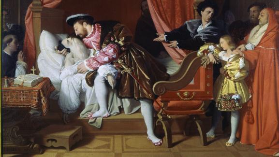 """Le tableau \""""François Ier reçoit les derniers soupirs de Léonard de Vinci\"""" (1818), de Jean-Auguste-Dominique Ingres, exposé au Petit Palais de Paris."""