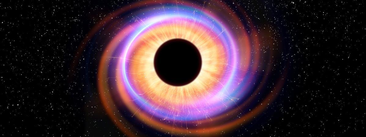 Modélisation d\'un trou noir. L\'attraction gravitationnelle qu\'ils exercent est si puissante rien ne peut s\'en échapper, ni la matière, ni la lumière.