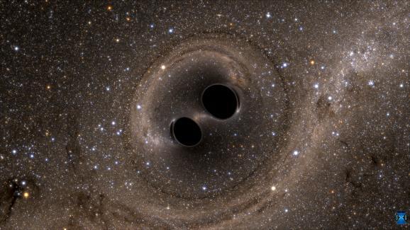 Cette simulation datée du 11 février 2016 présente lacollision de deux trous noirs qui a permis de détecter des ondes gravitationnelles pour la première fois.