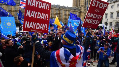 """""""Ce sera un scrutin très important"""" : à Londres, les anti et pro-Brexit mobilisés malgré tout par les élections européennes"""